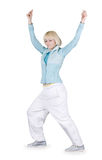 Girl dancing hip-hop over white Royalty Free Stock Photography