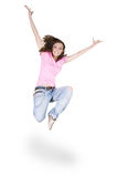 Girl dancing hip-hop over white Royalty Free Stock Images