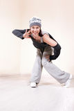 Girl dancing hip-hop studio series Royalty Free Stock Image