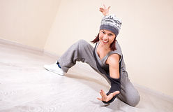 Girl dancing hip-hop studio series Stock Photos
