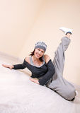 Girl dancing hip-hop studio series Stock Image