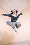 Girl dancing hip-hop studio series Royalty Free Stock Photo