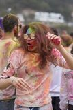 Geoje, SOUTH KOREA - MARCH 2018: Holi festival. The girl is dancing at Holi festival stock image