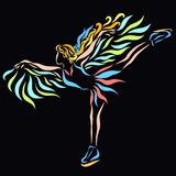 Girl dancing on ice, skates and wings.  Stock Photo