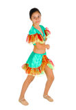 Girl dancing with Latin American clothing Royalty Free Stock Images