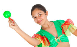 Girl dancing with Latin American clothing Royalty Free Stock Photos