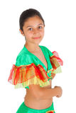 Girl dancing with Latin American clothing Royalty Free Stock Photography