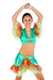 Girl dancing with Latin American clothing Royalty Free Stock Image