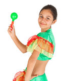 Girl dancing with Latin American clothing Stock Images