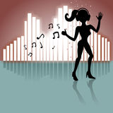 Girl dancing with music Royalty Free Stock Photography