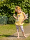 Girl dancing in nature. stock images
