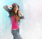 Girl dancing in a nightclub Stock Photography