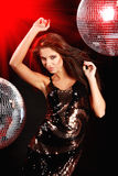 Girl Dancing Over Mirror Ball Stock Images