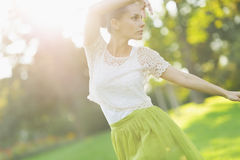 Girl dancing in park Royalty Free Stock Images