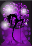 Girl dancing with a pole Stock Images