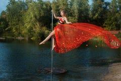 Girl dancing on a pole. Royalty Free Stock Photos