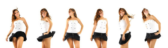 Girl dancing poses - isolated Royalty Free Stock Photos