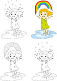 Girl dancing with rainbow . Vector illustration. Coloring and do Royalty Free Stock Photo
