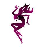 Girl dancing silhouette. Royalty Free Stock Photography