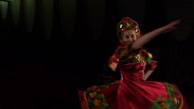 Girl dancing Slavic folk dancing on stage. stock video