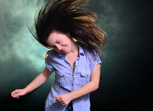 Girl dancing in smoke Royalty Free Stock Photography