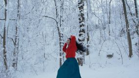 Girl dancing in snowy forest. Beautiful curly girl in a red sweater dancing in a snowy forest. A young woman whirls joyfully against the backdrop of a beautiful stock footage