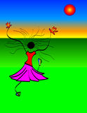 Girl Dancing in Sun. Colorful illustration of a girl dancing in the grass and sun Stock Photo