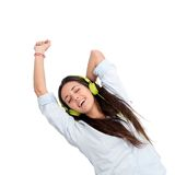 Girl dancing to the beat with headphones. Isolated Stock Image