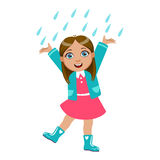 Girl Dancing Under Raindrops, Kid In Autumn Clothes In Fall Season Enjoyingn Rain And Rainy Weather, Splashes And Stock Photography