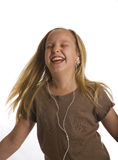 Girl Dancing Wearing Earbuds Royalty Free Stock Photos