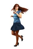 Girl Dancing on white background . Royalty Free Stock Images