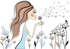 Girl with dandelion, vector illustration