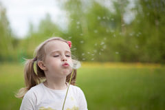 The girl with a dandelion. Outdoor Stock Images