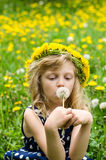 Girl with dandelion chain Royalty Free Stock Photography