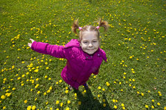 Girl in dandelion field Stock Photo