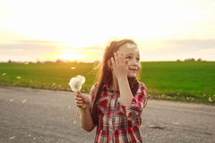 Girl with dandelion in the field Royalty Free Stock Images