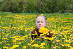 Girl on dandelion flowers meadow Stock Photography