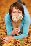 Girl with a dandelion Royalty Free Stock Photos