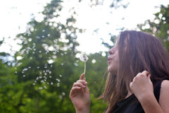 Girl and dandelion in nature Royalty Free Stock Photo