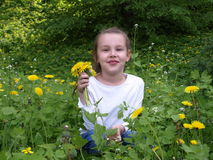 Girl with a dandelion Stock Images