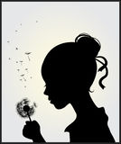 Girl with dandelion. Vector illustration of a girl with dandelion Stock Images
