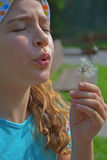Girl and dandelion wish Royalty Free Stock Photo