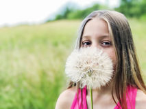 Girl with dandelion Royalty Free Stock Photos