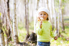 Girl with dandelions Royalty Free Stock Photos