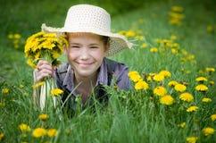 Girl dandelions Royalty Free Stock Image