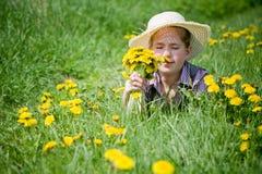 Girl dandelions Royalty Free Stock Photography