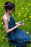 The girl in the dandelions holding a butterfly Royalty Free Stock Photography