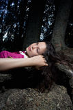 Girl in a dark. Only in the dark,  woman on nature, female in outdoors, beautiful girl portrait Royalty Free Stock Image