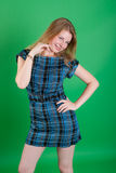 The girl in a dark blue dress Stock Photography