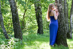 The girl in a dark blue dress near a birch Stock Image